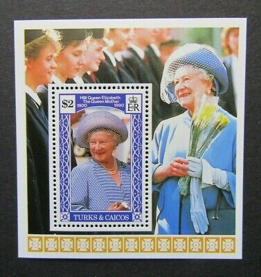 1990 Turks & Caicos - Queen Mother's 90th Birthday Mini Sheet - MNH