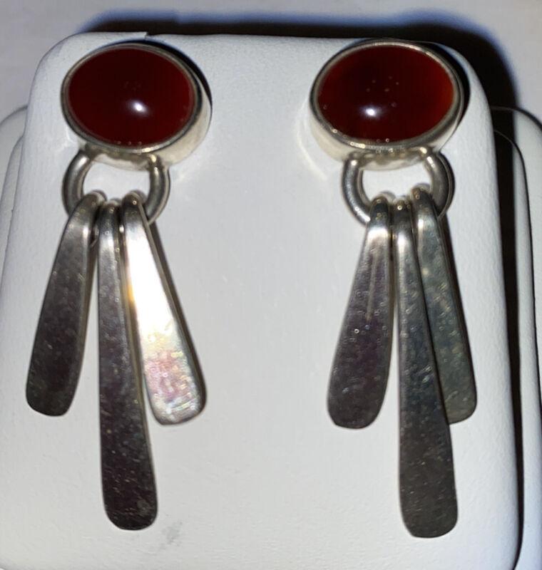 Sharp Sterling Carnelian Dangle Earrings AIS, Mexico