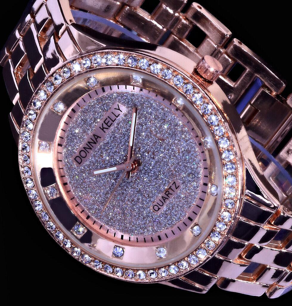 Donna Kelly Damen Armband Uhr Silber Rose Gold Farben Metall Strass Glitzer 1R