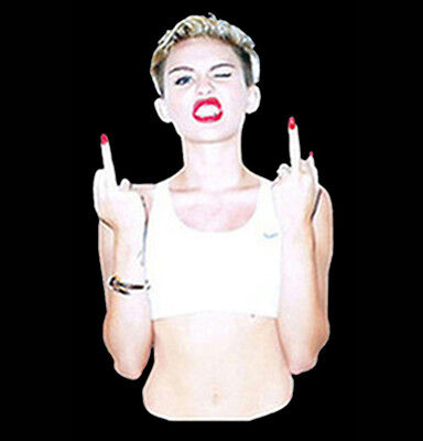 Funny T-Shirt Sexy Miley Cyrus Flipping The Bird Middle Finger Dope Tee Miley Cyrus T-shirts