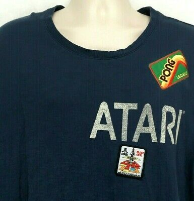 Junk Food Mens XXL T-Shirt Atari Theme Pong Patch Blue Short Sleeve Crew Neck