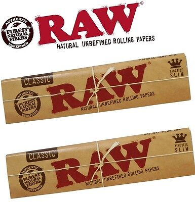 2 Packs of RAW Natural Unrefined Classic Rolling Papers (King Size Slim)