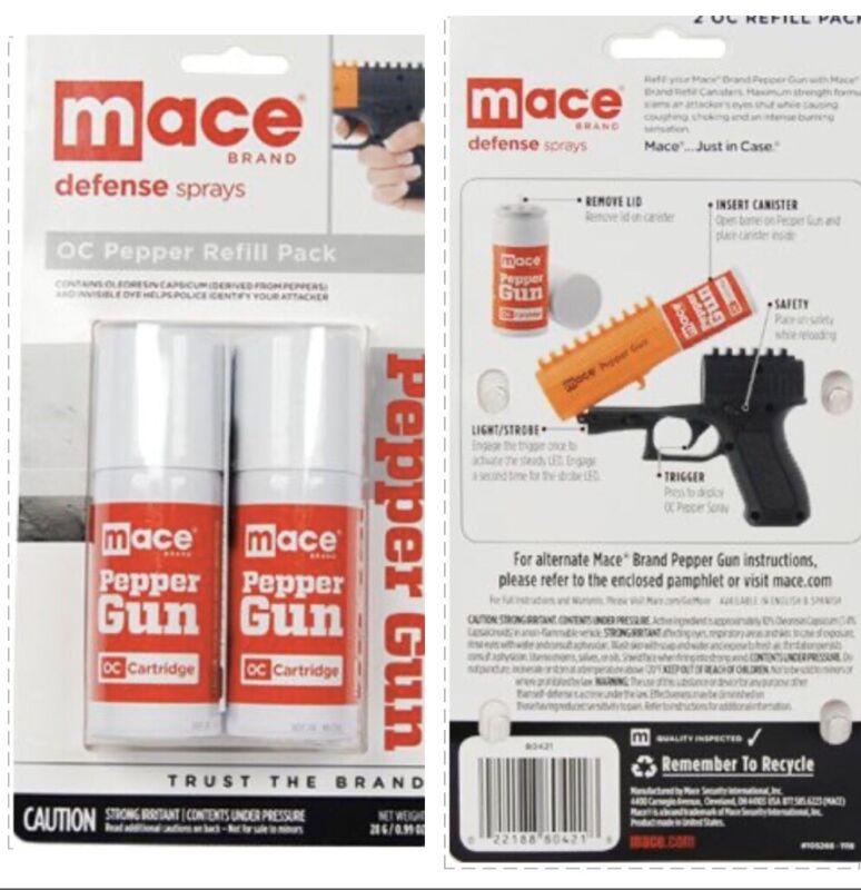 "2 Mace POLICE PEPPER GUN Spray REFILL OC Cartridge Dual Pack Kit 4"" INVISIBL DYE"