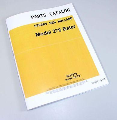 New Holland Model 278 Baler Service Parts Catalog Manual Small Square Baler