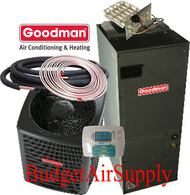 3 Ton 13 vaticinator Goodman HEAT PUMP GSZ13036+ARUF43C14+25ft Lineset+Tstat+Heat