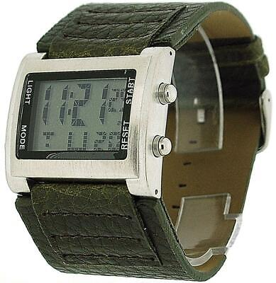 Retro Boys / Mens Digital Chronograph Green Pu Wide Strap Sports Watch...