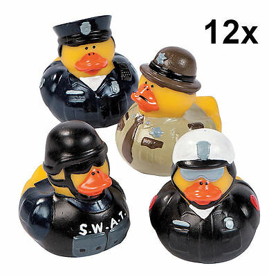 12 Law Enforcement Rubber Ducks - Swat Police Sheriff Trooper Duckies Ducky NEW - Law Enforcement Party Supplies