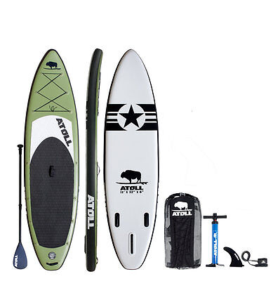 """Atoll 11'0"""" Foot Inflatable Stand Up Paddle Board, iSUP, Paddle, Bag,"""