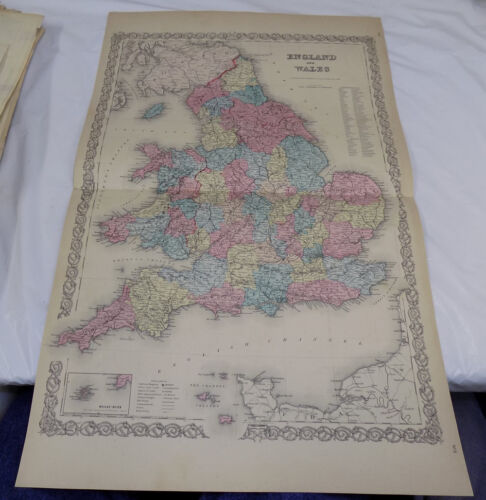 1855 Antique Colton COLOR Map///ENGLAND AND WALES