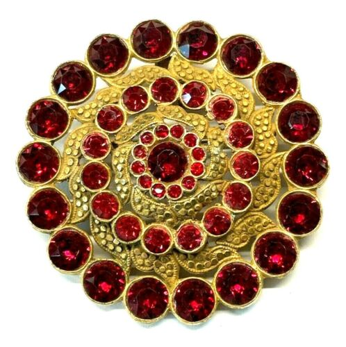 Art Deco Bright Red & Alurum Gold Rhinestone Brooch/Pendant