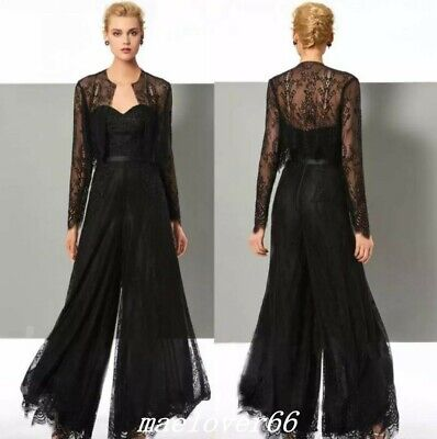 Black Lace Jumpsuit Mother Of The Bride Pant Suits With Jackets Evening Party (Black Mother Of The Bride Dresses With Jackets)