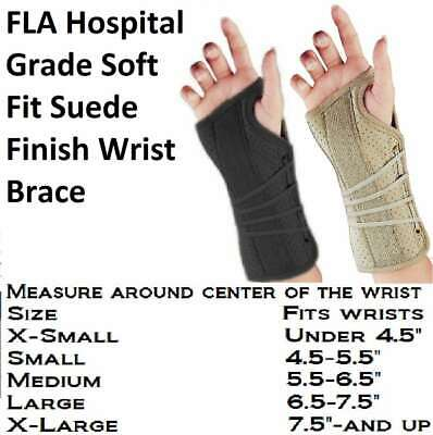 FLA Soft Fit Suede Finish Wrist Brace Left or Right - Colors - -