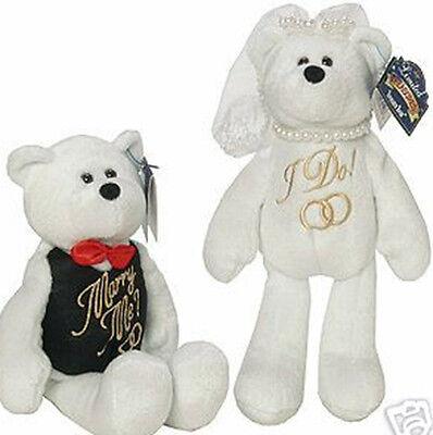 "Set Bride & Groom Wedding Bears 9"" Collectible Teddy Bears Limited Treasures"