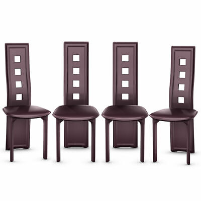 Set of 4 Dining Chairs Steel Frame High Back Armless Home Furniture Brown New 4 Brown Leather Chairs