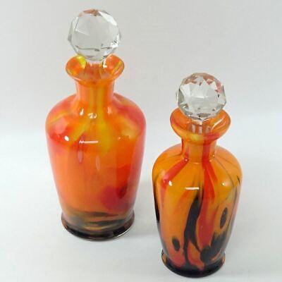 Vintage RETRO Red Orange Black Swirl Hand Blown Glass Perfume Bottles *E1D2 Hand Blown Glass Perfume Bottle