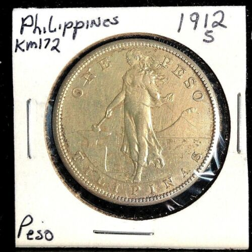 Philippines 1912 S Peso  Km 172  AU Scarce date (Cat Unc=$2000)