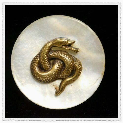 Antique Vtg Button Brass SNAKE Escutcheon Pearl Shell CHARMSTRING #K2
