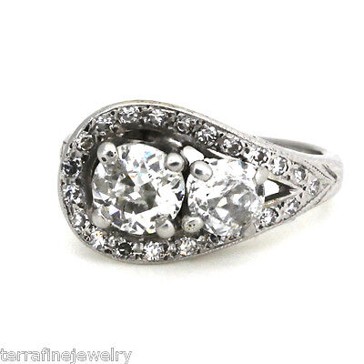 14k white gold and diamond vintage engagement ring size 3.25