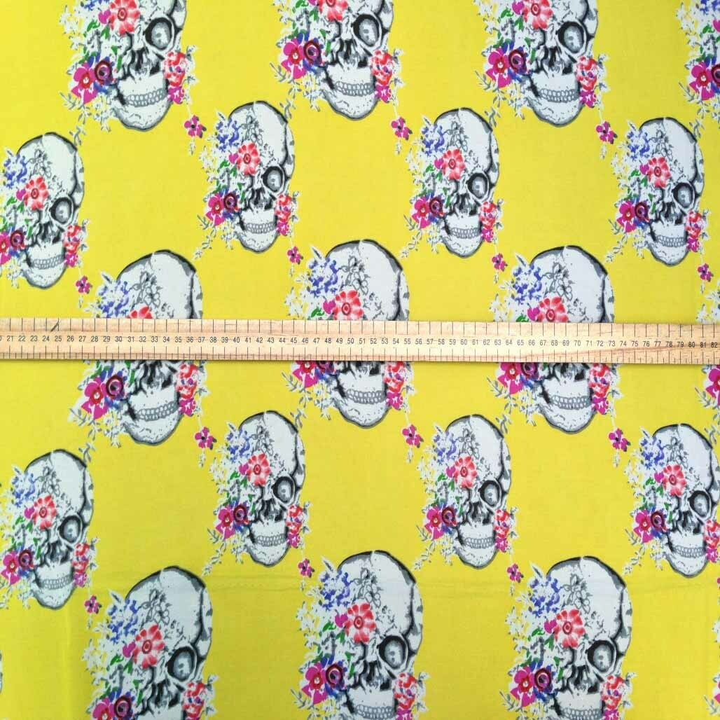 Yellow GOTHIC SKULLS Chiffon Dress Fabric Day Of The Dead Midi Skirt Tunics