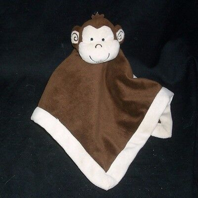 TIDDLIWINKS BABY BROWN & CREME MONKEY SECURITY BLANKET STUFFED PLUSH TOY SOFT