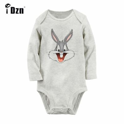 Bugs Bunny Head Newborn Jumpsuit Baby Romper Bodysuit Long Sleeve Clothes Outfit - Bugs Bunny Outfit