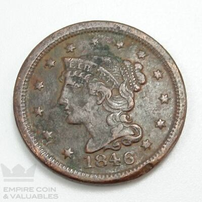 1846 Braided Hair Large Cent SMALL DATE VG+ Details *CB1
