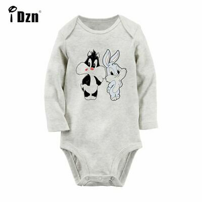 Cartoon Bugs Bunny Print Newborn Baby Romper Bodysuit Long Sleeve Clothes Outfit - Bugs Bunny Outfit