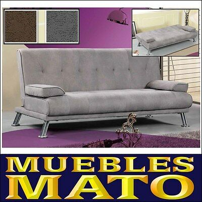 SOFA CAMA COLOR MARRON CHOCOLATE CLIC CLAC SOFA-CAMA CESTO