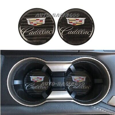 2Pcs Cadillac Carbon Fiber Car Cup Holder Pad Water Cup Slot Non-Slip Mat