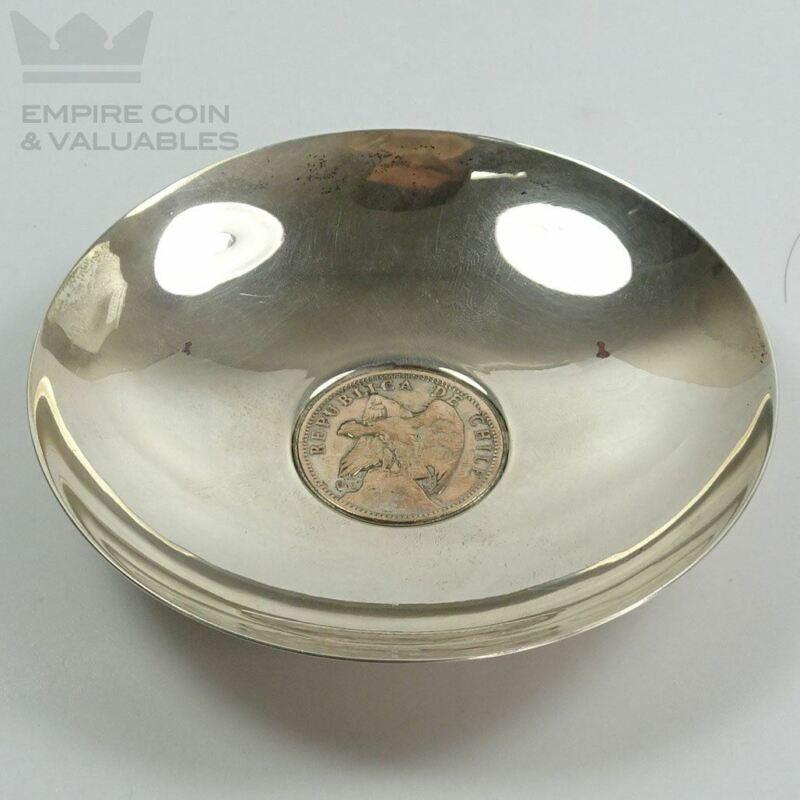 1922 Republica De Chile Un Peso Sterling Silver Dish Hecho A Mano Helmlinger