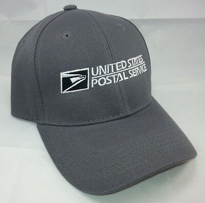 USPS Embroidered Baseball Hat Dark Gray w/White Embroidery / USPS LOGO2 Cap