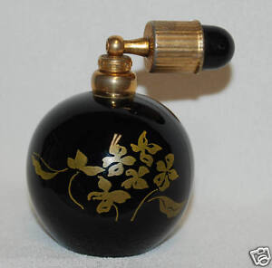 vintage art deco black gold perfume bottle and atomizer made in france french ebay. Black Bedroom Furniture Sets. Home Design Ideas