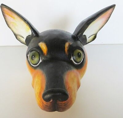 CHIHUAHUA HEAD WOOD FIGURINE,LARGER THAN LIFE SIZE, HANDMADE! Signed by artist