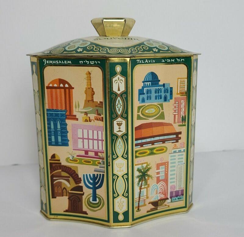 1950 Kosher HEBREW TIN BOX Advertise CHOCOLATE Israel JERUSALEM Tel Aviv JEWISH