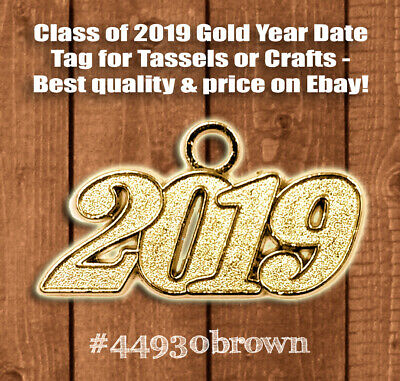 2019 Gold Metal Graduation Tassel Charm Year Date for Cap or Bracelet (Qty: 1) (Charms For Charm Bracelet)