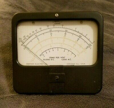 Vintage Simpson Panel Meter Gauge Ohms Per Volt 20000 Dc 1000 Ac