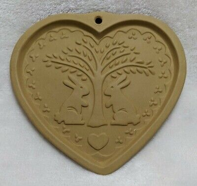 Cookie Mold - Rabbits Tree Heart -Brown Bag 1989 Hill Design -Vintage Easter 6x6