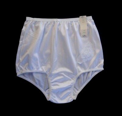 NANCY KING 100% Nylon Applique Full-Cut White Brief Size (Nylon White Brief)