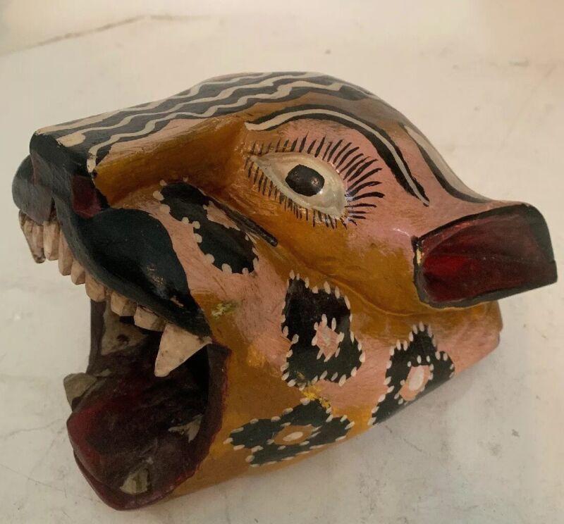 Vintage Mexican Handpainted Jaguar Mask Guerrero Ceremonial