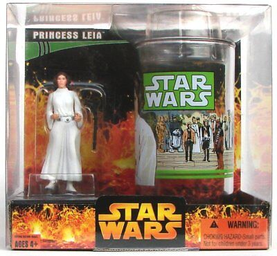 STAR WARS PRINCESS LEIA TOY FIGURE & COLLECTORS GLASS gift set NICE!