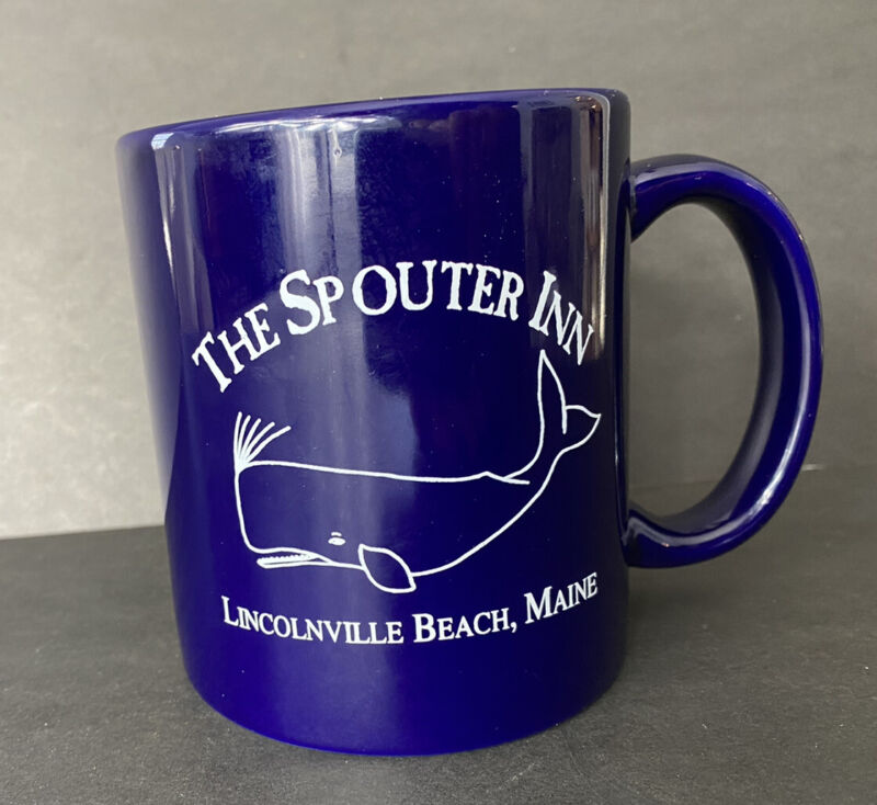 The Spouter Inn Souvenir Mug Lincolnville Maine Cobalt Blue