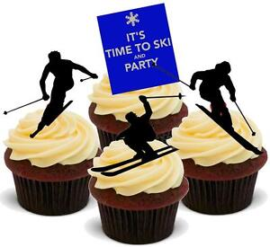 NOVELTY SKI PARTY MIX 12 STAND UP Edible Cake Toppers Birthday Skier Skiing