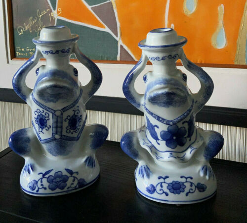 """Vintage Blue and White Porcelain Frog Candle Holders (set of 2) - 9"""" Tall"""