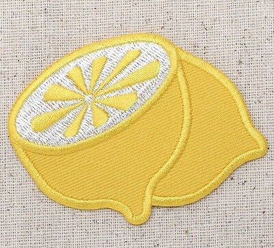 Iron On Embroidered Applique Patch Yellow Lemon Fruit Sliced in Half