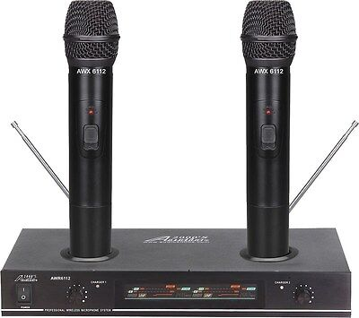 Audio2000's AWM-6112 VHF Dual Recharge Wireless Microphone