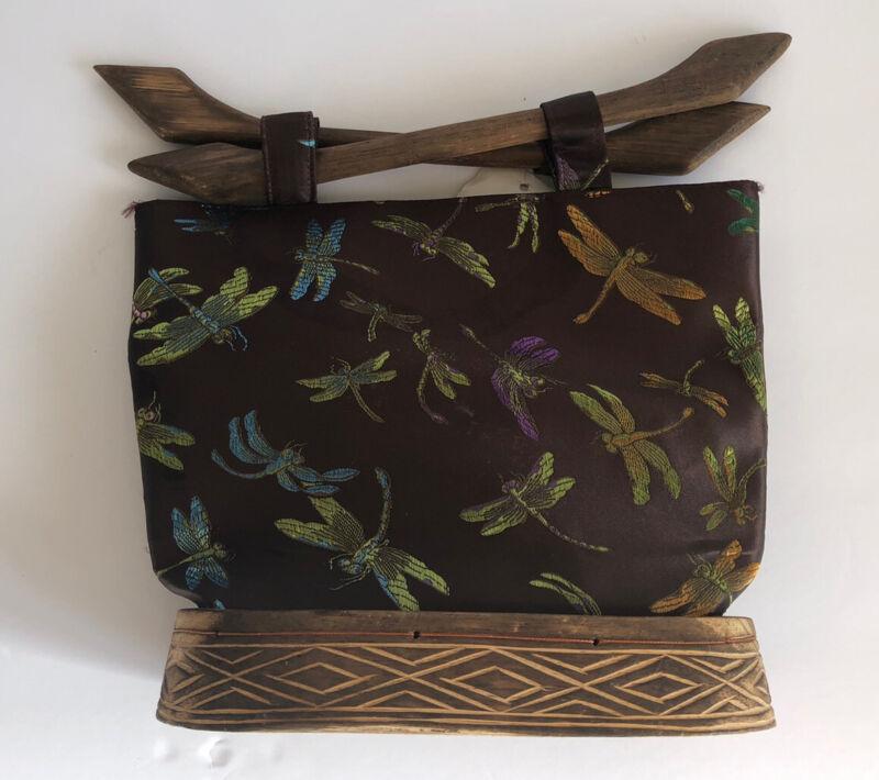 dragonfly satin cloth wooden Base And Handles handbag Purse VTG With Tag