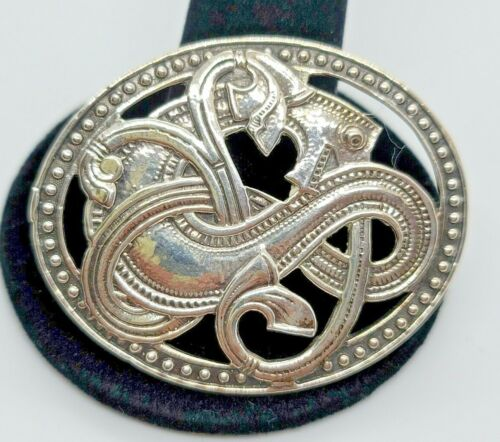 Sterling Silver  Artist Signed  Dragon Celtic  Brooch  Excellent Quality