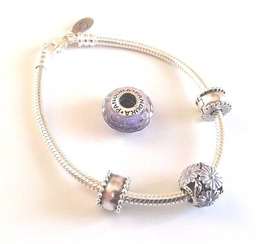 """Authentic Pandora Sterling Silver 7.1"""" Bracelet w 4 Pandora Charms and Clips"""