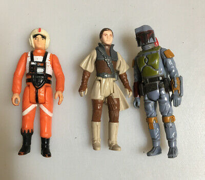 3x Kenner Star Wars Figures, Princess Leia, Luke X Wing Pilot, Boba Fett Taiwan
