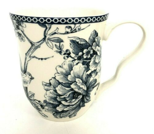 222 Fifth Adelaide Blue Floral Bird White Pot Belly Coffee Mug Tea Cup